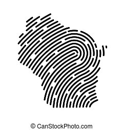 Wisconsin map filled with fingerprint pattern- vector illustration