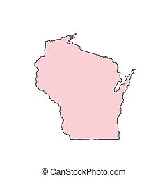 Wisconsin map isolated on white background silhouette. Wisconsin USA state.