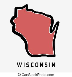 Wisconsin map outline - smooth simplified US state shape map...