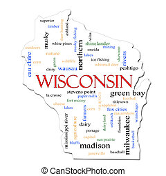 Wisconsin Map Word Cloud Concept - A Wisconsin map word...