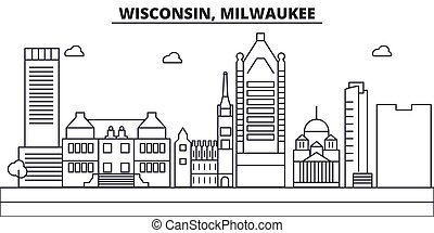 Wisconsin, Milwaukee City architecture line skyline ...