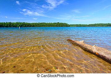 wisconsin, northwoods, plage, natation