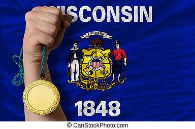 wisconsin, or, gagnant, état, drapeau usa, tenue, sport, médaille
