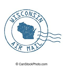 Wisconsin post office, air mail stamp