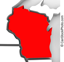 Wisconsin Red Abstract 3D State Map United States America