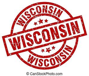 Wisconsin red round grunge stamp