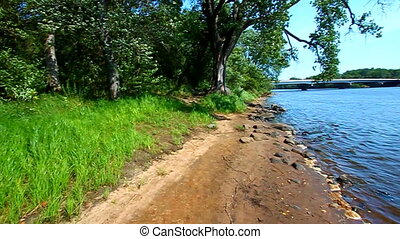 Wisconsin River Landscape Portage - Windy summer day along...