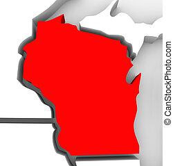 wisconsin, rojo, resumen, 3d, mapa del estado, estados unidos, américa