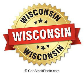 Wisconsin round golden badge with red ribbon