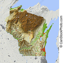 Wisconsin, shaded relief map - Wisconsin. Shaded relief map,...