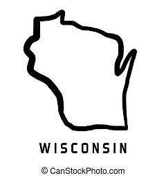 Wisconsin shape - Wisconsin map outline - smooth simplified ...