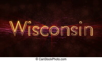 Wisconsin - Shiny looping state name text animation -...