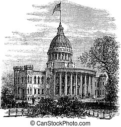 Wisconsin State Capitol in Madison US vintage engraving