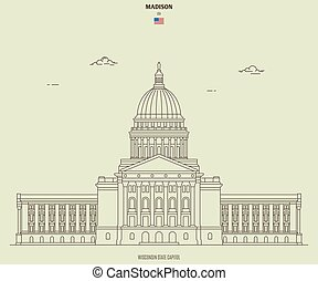 Wisconsin State Capitol in Madison, USA. Landmark icon in ...