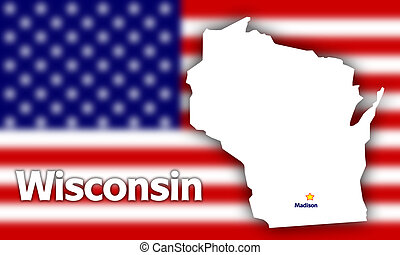 Wisconsin state contour with Capital City against blurred...
