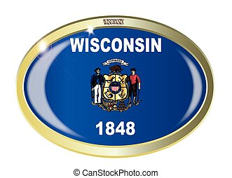 Wisconsin State Flag Oval Button