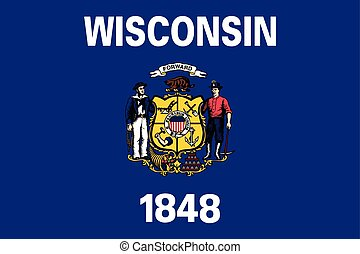 Wisconsin State Flag, USA. Vector Format