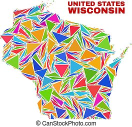 Wisconsin State Map - Mosaic of Color Triangles