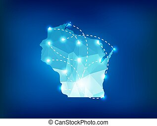 Wisconsin state map polygonal with spotlights places