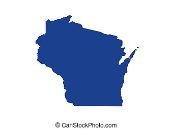Wisconsin State Map. Vector Design illustration - United ...