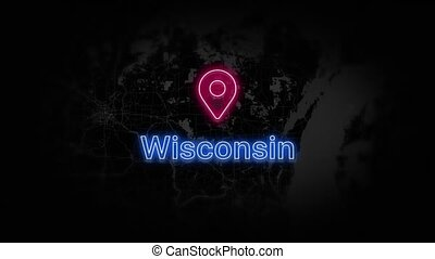 Wisconsin State of the United States of America. Animated neon location marker on the map. Easy to use with screen transparency mode on your video. 4k 30 fps.