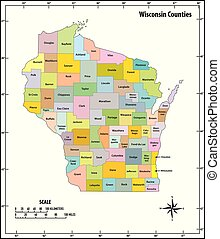 wisconsin state outline administrative and political vector map in color