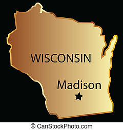 Wisconsin state usa map - Wisconsin state usa in gold with ...