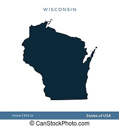 Wisconsin - States of US Map Icon Vector Template Illustration Design. Vector EPS 10.