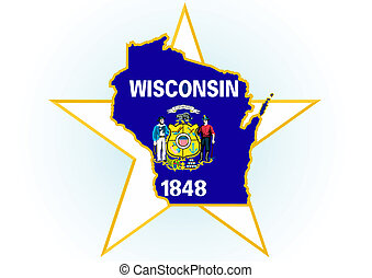Wisconsin - The illustration on white background. Coat of...