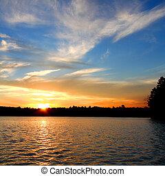 Wisconsin, tramonto, lago, settentrionale