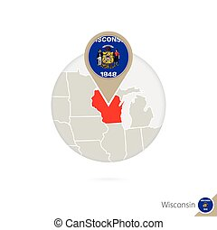 Wisconsin US State map and flag in circle.