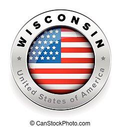 Wisconsin Usa flag badge button vector