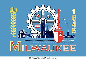 wisconsin, usa., format, drapeau, vecteur, milwaukee