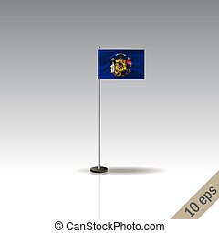 Wisconsin vector flag template. Waving Wisconsin flag on a metallic pole, isolated on a gray background.