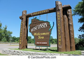 Wisconsin Welcome Sign - Welcome sign at entrance to state...