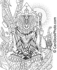wisdom elder baboon crossed-legged in tree - adult coloring page