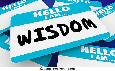 Wisdom Intelligence Educated Hello I Am Name Tag 3d Illustration