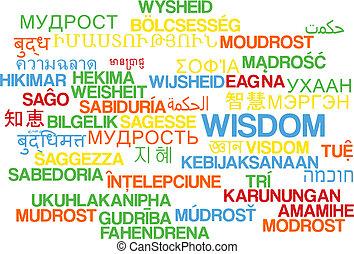 Wisdom multilanguage wordcloud background concept