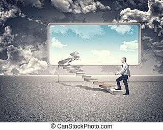 wisdom stair - man walk on 3d book stair