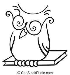 Wisdom symbol - Illustration of Owl seating on the book