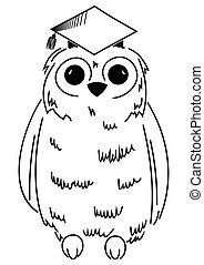 Wisdom symbol - Illustration of owl in graduation cap