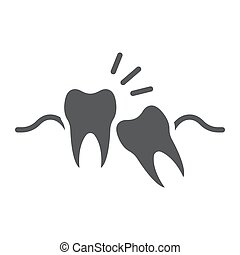 Wisdom teeth glyph icon, stomatology and dental, impacted...