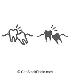 Wisdom teeth line and glyph icon, stomatology and dental,...
