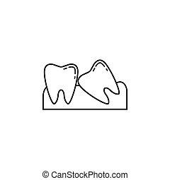 Wisdom teeth line icon, Dental and medicine, vector...