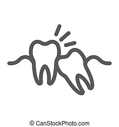Wisdom teeth line icon, stomatology and dental, impacted...