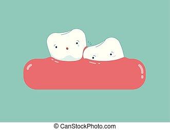 Wisdom tooth cartoon, dental concept.
