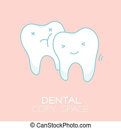Wisdom tooth cartoon illustration isolated on pastel baby...