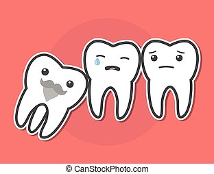 Wisdom tooth causes pain concept. Toothache. Dental vector...