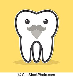 Wisdom tooth with a gray beard and mustache. Vector...