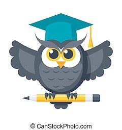 Wisdom Vector Icon - Wisdom concept with owl in graduation...